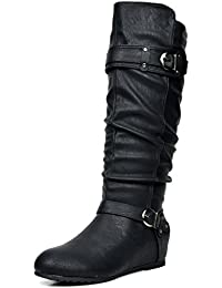 Women's Knee High Low Hidden Wedge Boots (Wide Calf...