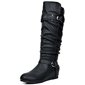Dream Pairs Women's Knee High Low Hidden Wedge Boots (Wide Calf Available)