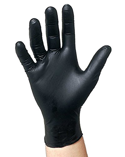 Black Nitrile Disposable Gloves Powder Free Textured Fingertips 4.5 Mil Thickness Latex Free Medical Examination Glove-Size XL (Pack of 100 Gloves)