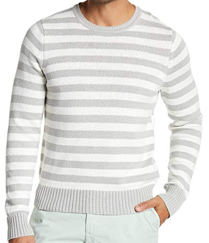 Brooks Brothers Men's Stripe Crewneck Sweater, Black/Gray (XLarge)