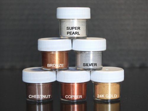 Luster Dust Set of 6 Pearl / Bronze /Silver / Chestnut / Copper / (Pot Of Gold Craft)