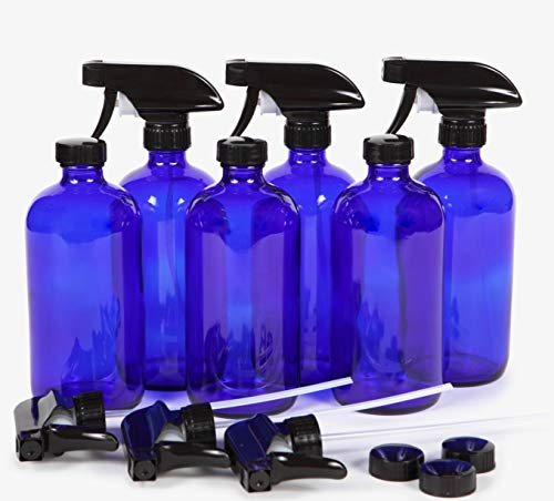 Vivaplex, 6, Large, 16 oz, Empty, Cobalt Blue Glass Spray Bottles with Black Trigger Sprayers ... ()