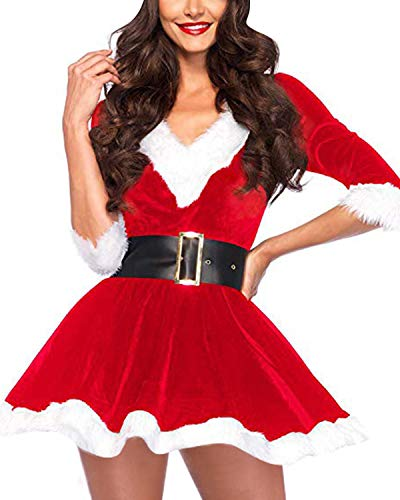 BIUBIU Womens Christmas Costume Sexy Outfit Dress Santa Claus Cosplay Clothing Red -