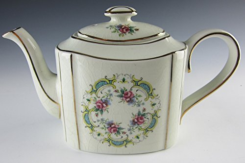 Arthur Wood China Teapot Celadon Floral Design with Pink roses and Gold Trim
