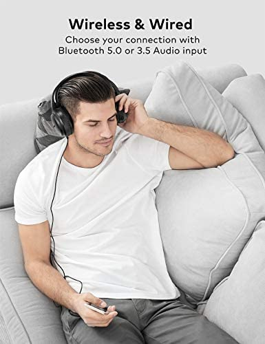 Active Noise Cancelling Headphones, Boltune Bluetooth 5.0 Over Ear Wireless Headphones with Mic Deep Bass, Comfortable Protein Earpads 30H Playtime for Travel Work TV PC Cellphone 41GK2xJWIDL