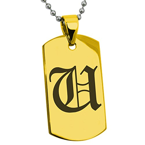 Stainless Steel Love U Pendant Necklace (Gold Plated) - 9