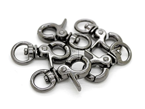 CRAFTMEmore 1-1/4 Tiny Swivel Trigger Snap Hooks Landyard Clip Purse Lobster Clasp Pack of 10 ()