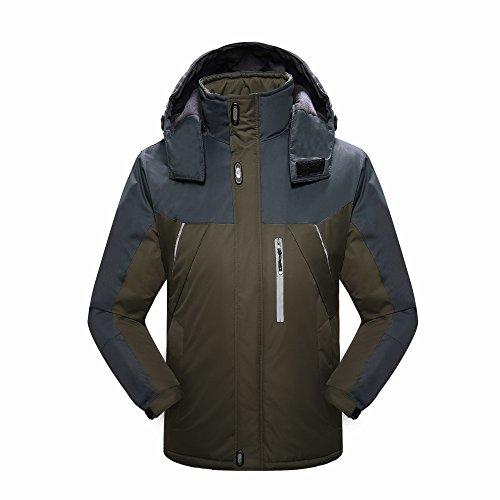 [Yovayosa Men's Waterproof Mountain mountain hardwear down jacket Fleece Windproof Ski Jacket] (Snow Motorcycle Jackets)