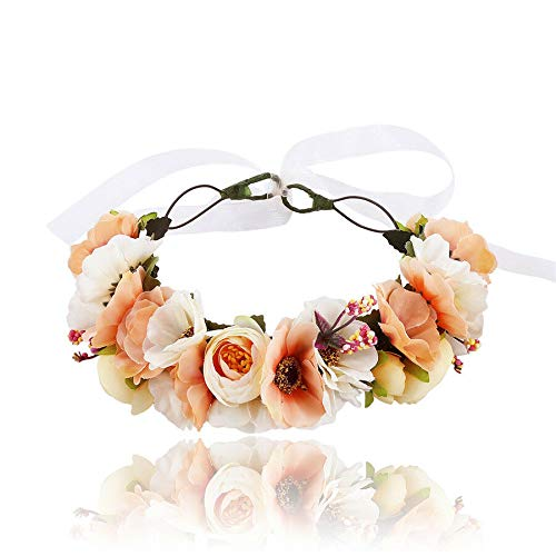 Bridal Flower РІР'‹Crown Hairband Floral Headband Beach Party Wedding Headdress (Colors - beige)