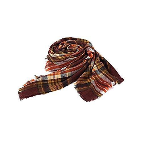 Zando Soft Warm Tartan Plaid Scarf Shawl Cape Blanket Scarves Fashion Wrap Coffee from Zando