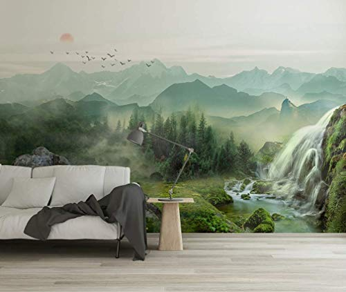 Murwall Waterfall Wallpaper Misty Landscape Wall Mural Sunrise Wall Print Country Style Home Decor Cafe Design Living Room