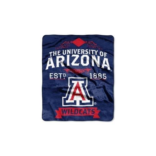 50x60 Royal Plush Blanket (Officially Licensed NCAA Arizona Wildcats Label Plush Raschel Throw Blanket, 50