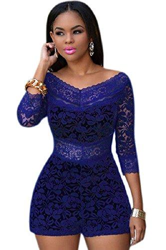 Neue Damen Blue Lace Schulter Strampler Spielanzug Catsuit Club Wear Größe S UK 8 sdA34