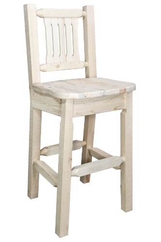 Montana Woodworks Homestead Collection Barstool with Back and Ergonomic Wooden Seat, Clear Lacquer Finish