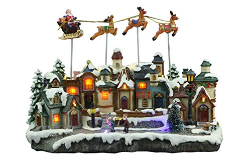 Top Treasures Snow Village Lighted Resin Christmas Village with Moving Santa & Reindeer Sleigh | Lighted Christmas Village is a Great Perfect Addition to Your Christmas Decorations & Displays ()