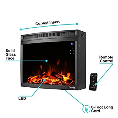 e-Flame USA Edmonton LED Electric Fireplace Stove Insert (Curved) by 28-inches Wide with Digital Screen and Remote Features Heater and Fan Settings with Realistic Brightly Burning Fire and Logs