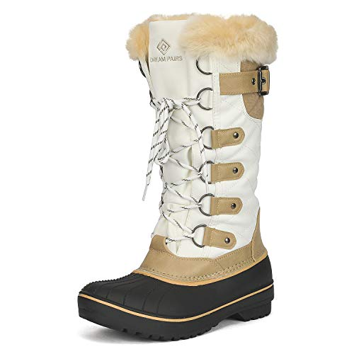 DREAM PAIRS Women's DP-Avalanche Beige White Faux Fur Lined Mid Calf Winter Snow Boots Size 7 M US