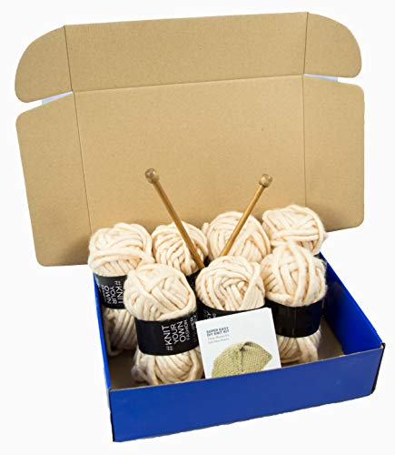 Chunky Knit DIY Throw Blanket Knitting Kit, Super Soft Yarn, US15 10mm Wood Needles (Ivory)