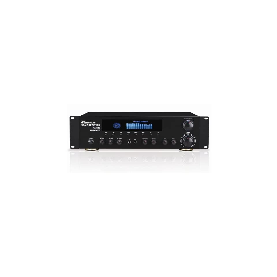Brand New for 2010 Technical Pro Rx b33 Rack Mount Black 1,000 Watt 2 Channel Professional Dj or Home Theater Power Amplifier / Receiver Combo with Mic Inputs and Echo Control