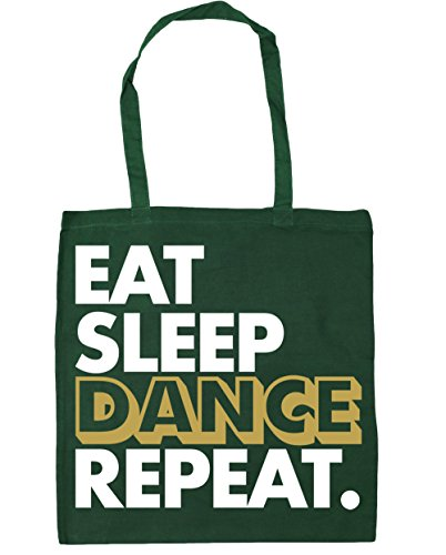Hippowarehouse Eat Sleep Dance Ripeti La Shopping Bag Borsa Da Palestra Da Spiaggia 42cm X38cm, 10 Litri - Bottiglia Verde, Taglia Unica