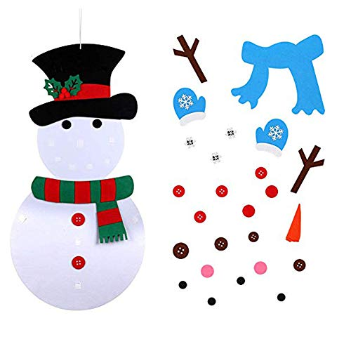 Famdecor Christmas Home Decoration DIY 31 PCS Felt Snowman Set Ornaments for Wall&Display Window Children DIY Gifts
