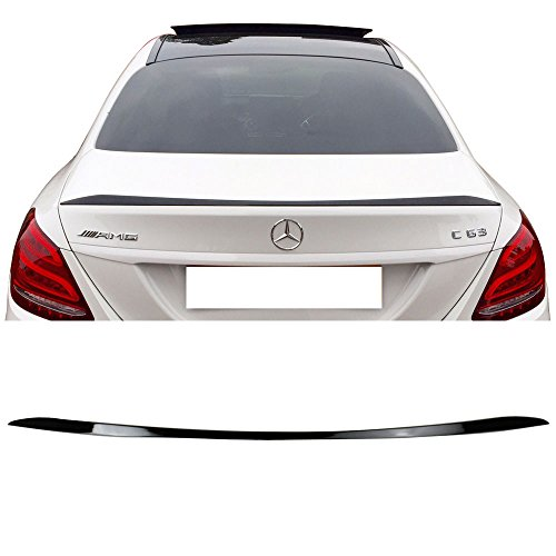 (Pre-Painted Trunk Spoiler Fits 2015-2018 Benz W205 C Class | Factory Style #040 Black ABS Rear Tail Lip Deck Boot Wing Other Color Available By IKON MOTORSPORTS | 2016 2017)