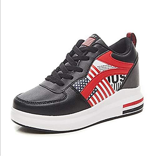 CN40 5 5 Scarpe EU39 Poliuretano TTSHOES Per Grigio Donna Sneakers PU Comoda US8 Black UK6 Primavera Nero Zeppa RgaTxOxw