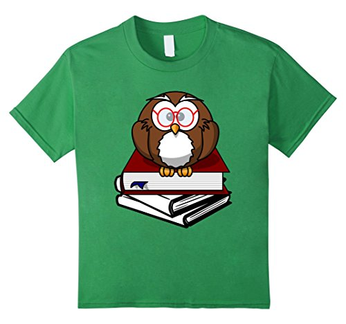 Kids Owl Book Nerd Reading Teacher Student Geek Funny T-Shirt 10 Grass (Nerdy Girl Costume Ideas)