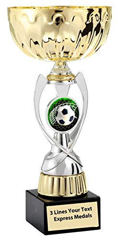 Express Medals Gold - Silver Soccer Metal Trophy Plastic Stem Cup Marble Base and Personalized Engraved Plate 542