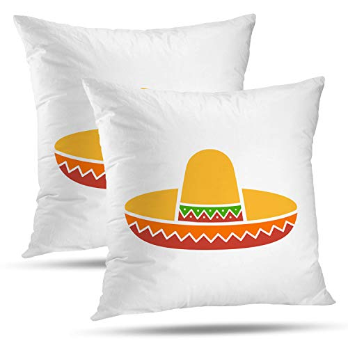 Batmerry Halloween Thanksgiving Decorative Pillow Covers 18x18 inch Set of 2, Mexican Hat Colorful Flat Mexico Celebration Cowboy Crown Cultural Throw Pillows Covers Sofa Cushion Cover Pillowcase