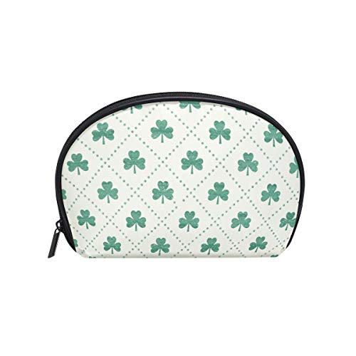Half Moon Cosmetic Beauty Bag Shamrock Mint Travel Handy Organizer Makeup Pouch for Women Girls