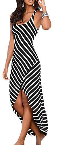 Xiessi Women's Scoop Neck Sleeveless Stripe Slip Front Maxi Dress M Black