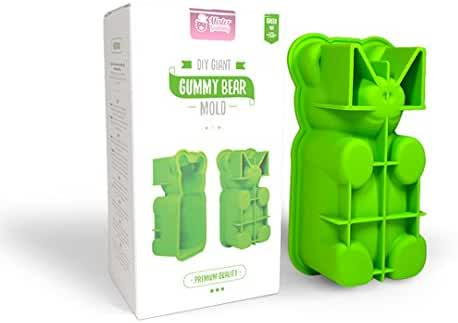 DIY Giant Gummy Bear Mold | PREMIUM Quality Silicone + RECIPES and Gift BAGS Included | Make BIG Bear Treats! (Gummy, Cakes, Breads, Chocolates, and More) - By Mister Gummy (Green)