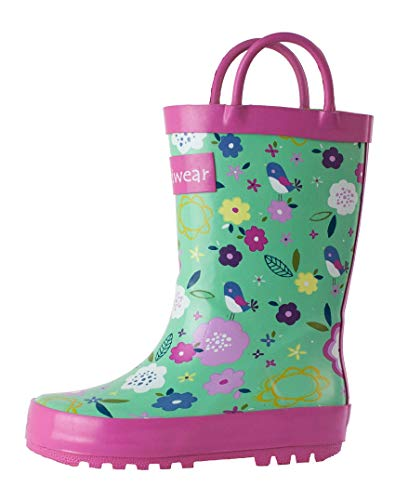 - OAKI Kids Rubber Rain Boots with Easy-On Handles, Green Floral, 13T US Toddler