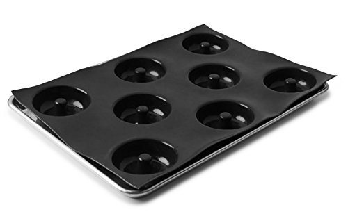 Sasa Demarle Professional Silicone FLEXIPAN Donut Pan Mold - 8 Cavity - Ø 3.5- Depth:1.18 - Mold Size 12.2 x 17.3 fits a Half Sheet Pan 13x18 - FP5587
