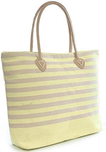 Octave - Sac cabas/sac de plage en fibre de papier - motif rayé - vert clair