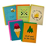 Summer Camp Greeting Cards for Girls - 5 Different Camp Themed Cards and Envelopes - 5 x 7 Inches