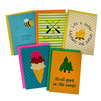 (Summer Camp Greeting Cards for Girls - 5 Different Camp Themed Cards and Envelopes - 5 x 7 Inches)