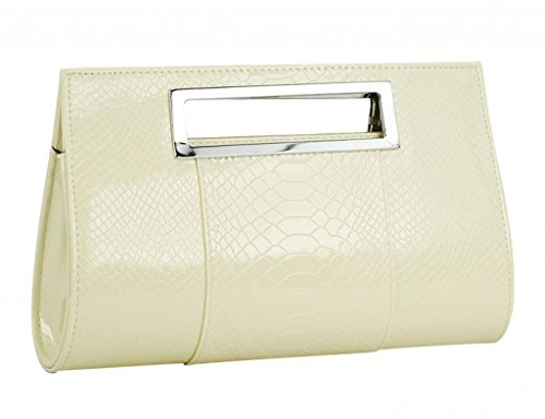 YMB Women's Elegant Handbag Crocodile Print Purse Evening Party Shoulder Bag Off White