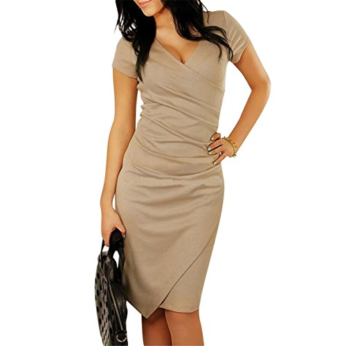 JudyBridal Women Vintage Bodycon Ruched Cocktail Pencil Business - Womens Brown Western Dress