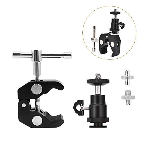 UTEBIT Crab Clamp Mini 360 Degree Ball Head with Hot Shoe Super Clamp On Camera Mount Pliers Clip 1/4 and 3/8 Transfer Screw Adapter for DSLR Camera Accessories