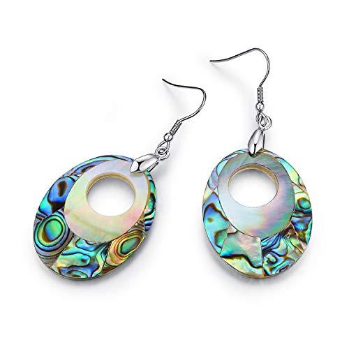 IDEAGEM Abalone Shell Earrings, Hoops Sterling Silver Earrings for Women (Good Luck)