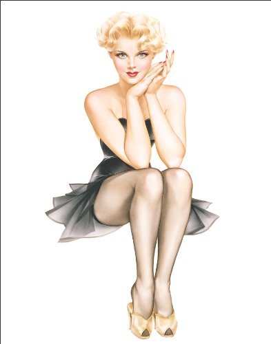 Alberto Vargas (Vargas Girls) Blonde Girl Wearing Black Lingerie Sexy Pin-Up Art Postcard Print 11x14 Blonde Pin Up Girl