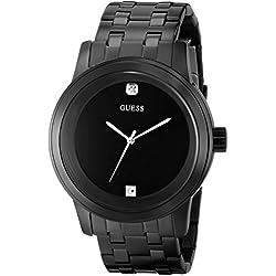 GUESS Men's U12604G1 Self Assured Round Diamond Accent Black IP Watch