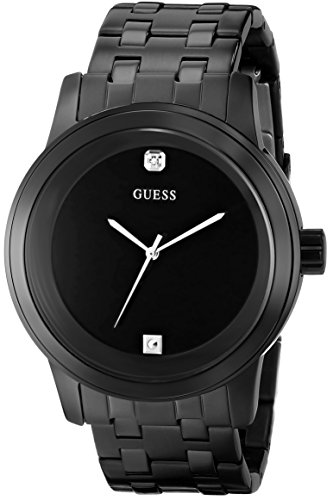 GUESS Mens U12604G1 Self Assured Round Diamond Accent Black IP Watch