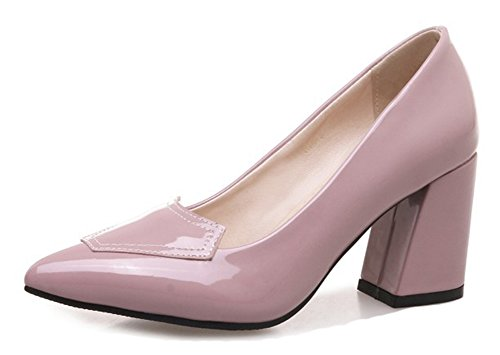 Aisun Women's Fashion Pointed Toe Burnished Low Cut Dressy Wear To Work Slip On High Block Heel Pumps Shoes (Pink, 7 B(M) US) by Aisun