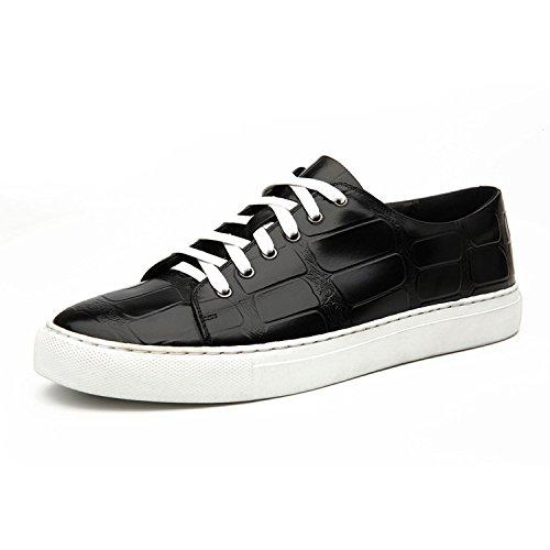 WZG occasionnels en cuir dentelle chaussures hommes cuir chaussures Les nouveaux hommes chaussures respirantes mode britannique chaussures de sport , black , 42