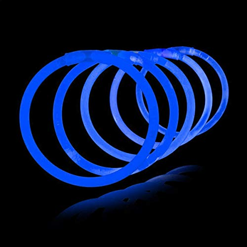 Lumistick 8 Inch 100 Pack Glow Sticks - Bendable Glow Sticks with Necklace and Bracelet Connectors - Glowstick Bundle Party Bracelets Best for Parties, Events and Holidays (Blue, 100)