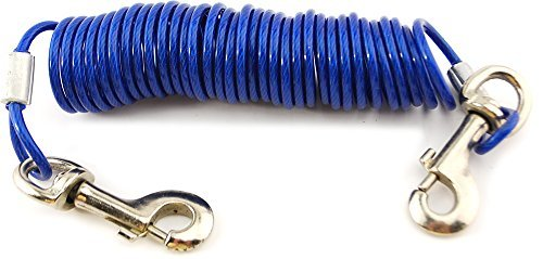 VIP Home Essentials 12 Foot Pet Coiled Tie Out Cable - Blue - Retracts Easily and Quickly to Avoid Tangles by VIP Home Essentials