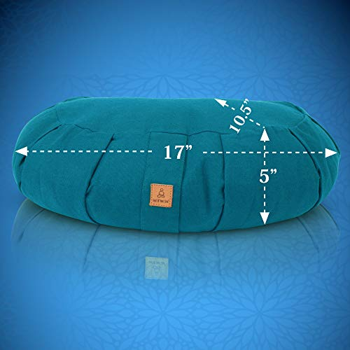Buckwheat Crescent Therapeutic Meditation Cushion | Yoga Pillow | Round Ergonomic Design Relieves Stress On Back, Hips, Legs For Total Comfort | Washable Premium Organic Cotton Removable Cover - Aqua